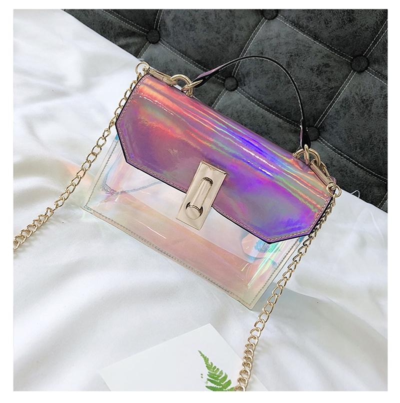 a97d7a032a29 HEIDI 2018 Women Shoulder Bag Handbag Fashion Jelly Beach Bag Laser  Transparent Crossbody Bag Trendy Blue one size