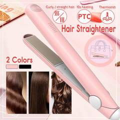 HEIDI 2019 Portable Mini Electronic Hair Straightener Iron Straightening Curling Hair Styling Tools pink normal