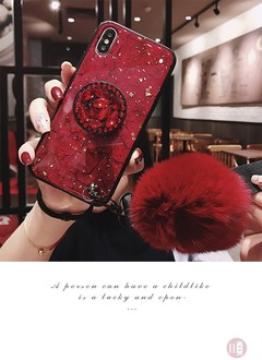 Gold foil Epoxy phone case, luxury rhinestone bracket, hair ball hand rope Red iPhone6/6s