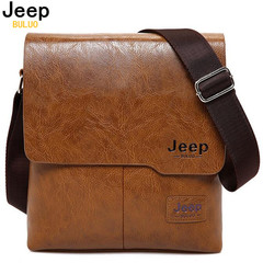 Men Tote Bags JEEP BULUO  New  Man Leather Messenger Bag Male Cross Body Shoulder Business Bags small black as picture