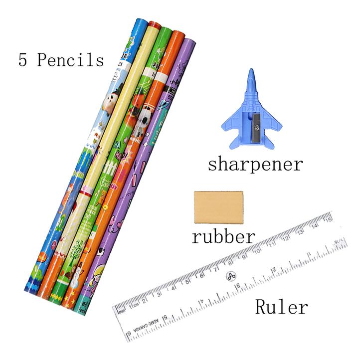 GGHOUSE Pencils Rubber Sharpener Ruler Office Desk Accessories Set onecolor onesize