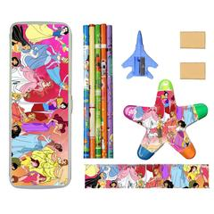Disney Pencil Case Set with Five Pencils, Two Rubber, One Ruler and a Five Color Highlighter Combo disney 1