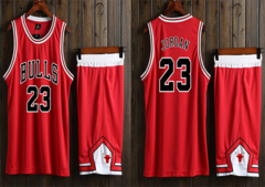 NBA Team Jersey Sport Shirt Suit Waistcoat Short Set (Can DIY Print You Name On) For Men 165-170CM Chicago BULL Michael Jordan Red