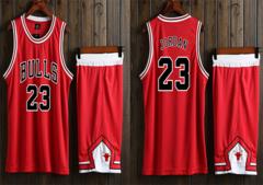 NBA Team Jersey Sport Shirt Suit Waistcoat Short Set (Can DIY Print You Name On) For kid Boy 100-110CM chicago bull michael jordan red
