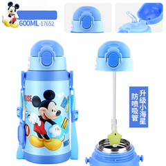 Disney children's thermos cup straw cup anti-drop anti-leakage kindergarten thermos cup mickey1 600ML