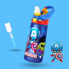 Disney children's thermos cup with straw 304 stainless steel primary school portable water cup Captain America 500ML 450-500ML