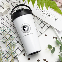 High quality new coffee thermos with lid cups and mugs vacuum flask thermos coffee cup  500ml white 500ml
