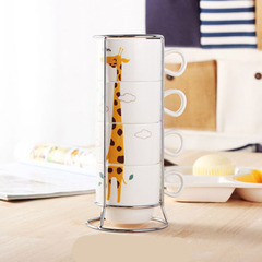 Creative office drinking cup tea cup home set mug ceramic cup simple coffee cup family Giraffe 150ml*4