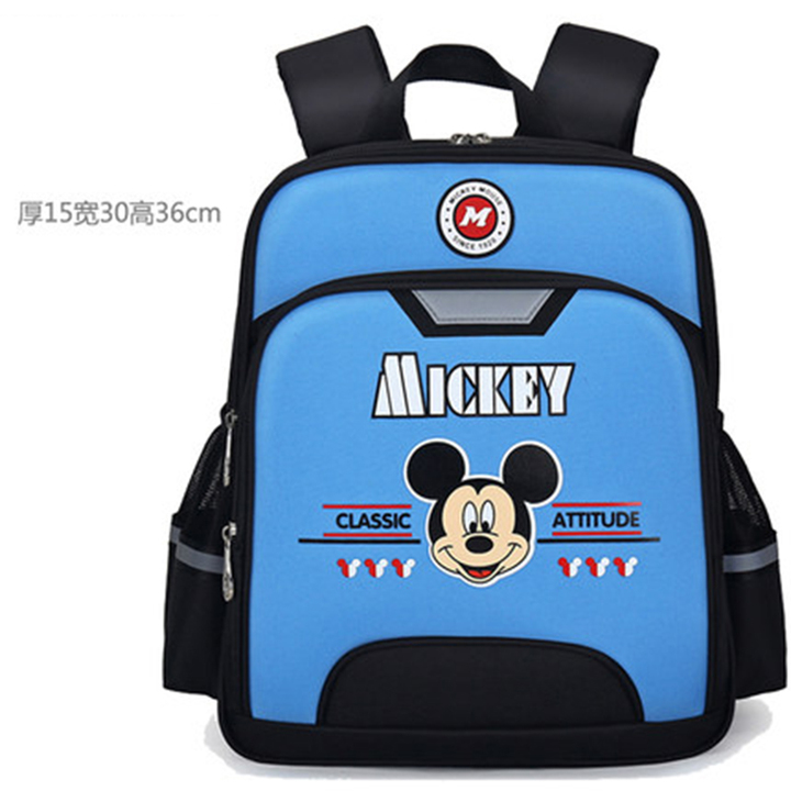 ed7e0690ee13 Disney schoolbag primary school boys and girls mickey school load reduction  backpack for children Sky blue