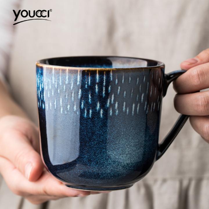 Ceramic mug Nordic style light luxury coffee cup milk cup simple household water cup women blue1 350ml