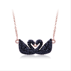 Swarovski elements star dream double black swan necklace rose gold necklace pendant clavicle chain black swan black swan