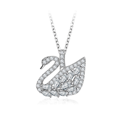 SWAROVSKI White swan pendant necklace elegant clavicle chain women's jewelry rose gold White swan White swan
