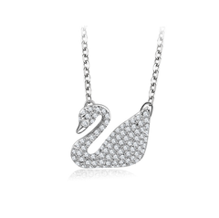 Swarovski classic white swan pendant necklace with 925 silver collarbone chain white swan white swan