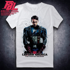 Disney Captain America children cartoonT-shirt men's marvel avengers shirt cotton short sleeve trend Captain America-white-1 k2 80-90cm cotton