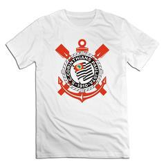 Sport Club Corinthians Paulista Men T shirt with round neck short  half sleeve pure cotton loose Sport Club Corinthians Paulista-white 1 xxxxl 185-190 cotton