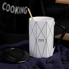 Nordic style couple cup creative simple coffee water cup household ceramic mug with cover spoon a-1 400ml
