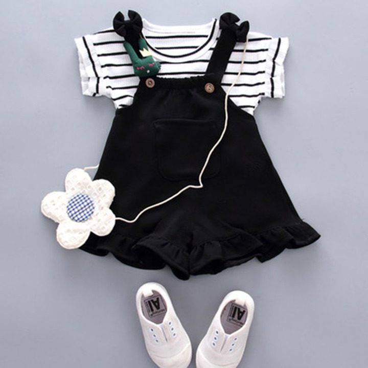 New short sleeved shorts for girls and boys set children set short sleeved Korean children's fashion 1 k2 80-90cm cotton