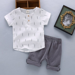 2019 new summer children's wear men's and women's children short sleeve suit baby baby clothes 1 k1 50-75cm cotton