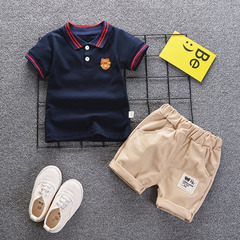 Boys summer short sleeved shorts suit children summer baby children clothes two pieces of tide Polo shirt -Black 80cm cotton