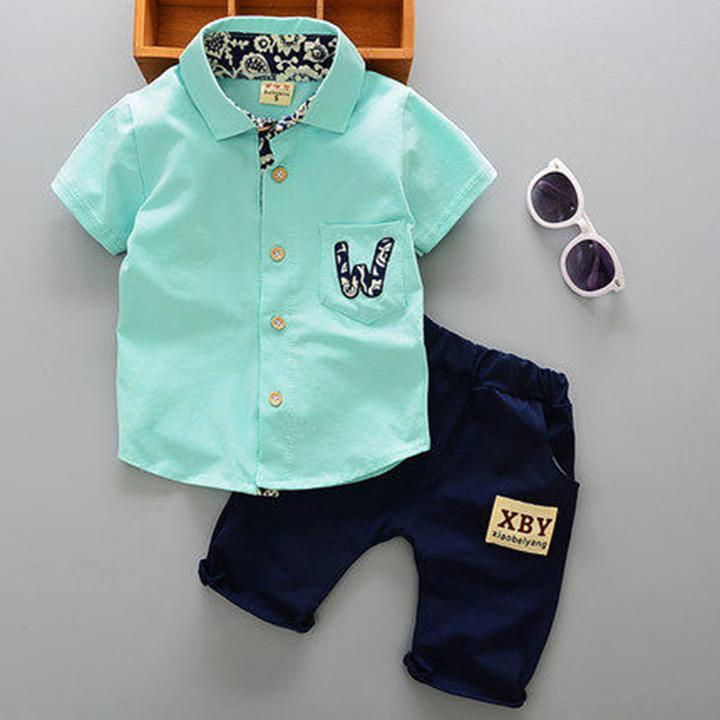 Children's wear children's summer wear boys' and girls' suits summer children's short sleeve suits 1 120cm cotton