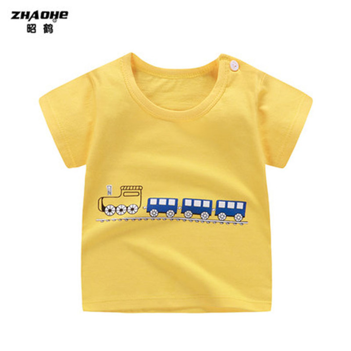 Baby short sleeved Tshirt summer cotton top baby short sleeved Tshirt boys girls bottom summer wear 1 70cm cotton