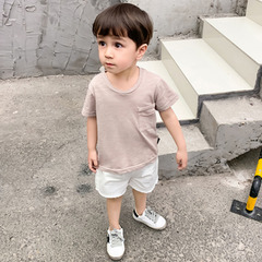 Pure cotton short-sleeved Tshirt children's wear 2019 summer new boys girls bottom shirt top fashion red-1 70cm cotton