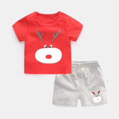 Baby short suit pure cotton children's clothes summer suit children boy girl  short sleeve shorts 1 70cm cotton