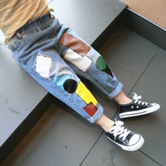 Boys' trousers, baby spring autumn outfit Korean version of children's denim trouserschildren's wear blue--1 80cm