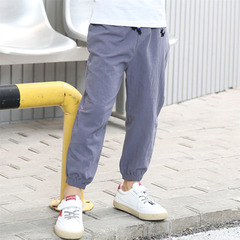 Boys' and girls' pure cotton casual pants imitate cotton and linen sports pants gray-1 90cm