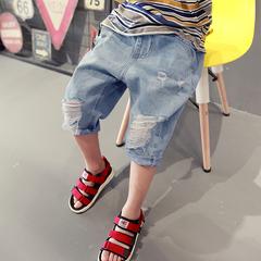 Children's wear boys denim shorts in wear thin children's trousers boys white panties breeches trend blue--1 100cm