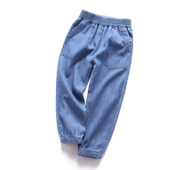 Boys' jeans children's trousers spring wear boys' trousers single trousers small leg trousers blue--1 100cm