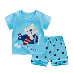 Children's pure cotton short-sleeved suit girl's two-piece suit baby's shorts baby boy's summer suit 1 70cm