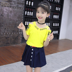 Girls' summer wear short-sleeved children's set skirt small girl clothes in the two-piece children 1 110cm cotton