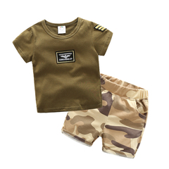 Baby camouflage set new Korean version of men's wear children's short sleeve shorts two-piece set Army green 90cm cotton