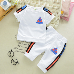 Children's cotton suit summer baby two-piece children's suit summer baby T-shirt boy shorts white- 80cm cotton