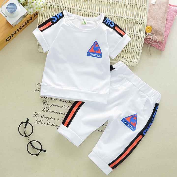 Children's cotton suit summer baby two-piece children's suit summer baby T-shirt boy shorts white- 80cm cotton