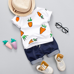 Clearance baby summer short sleeve suit boy imitation denim trousers baby sports two-piece set 1 80cm cotton