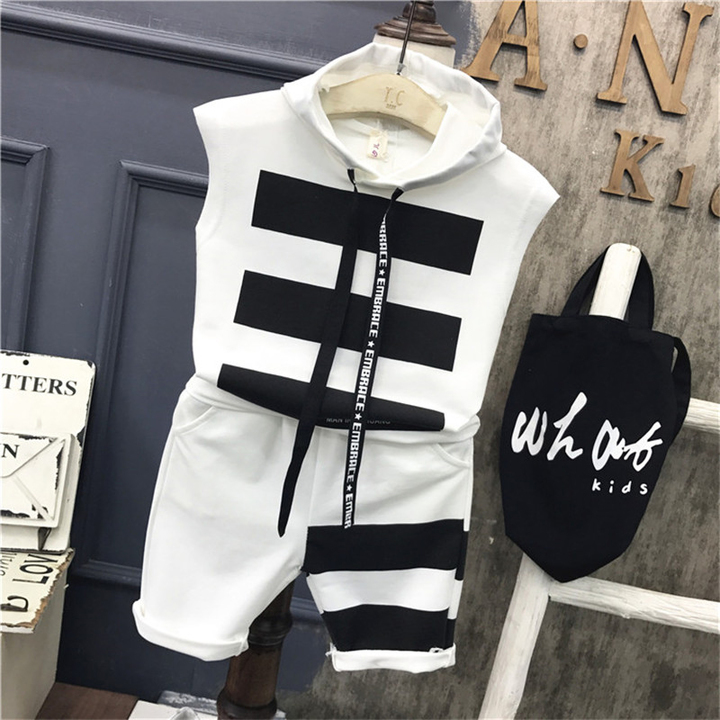 Children's wear boy suit short sleeve 2019 new vest in children's T-shirt two sets of Korean summer white- 90cm cotton