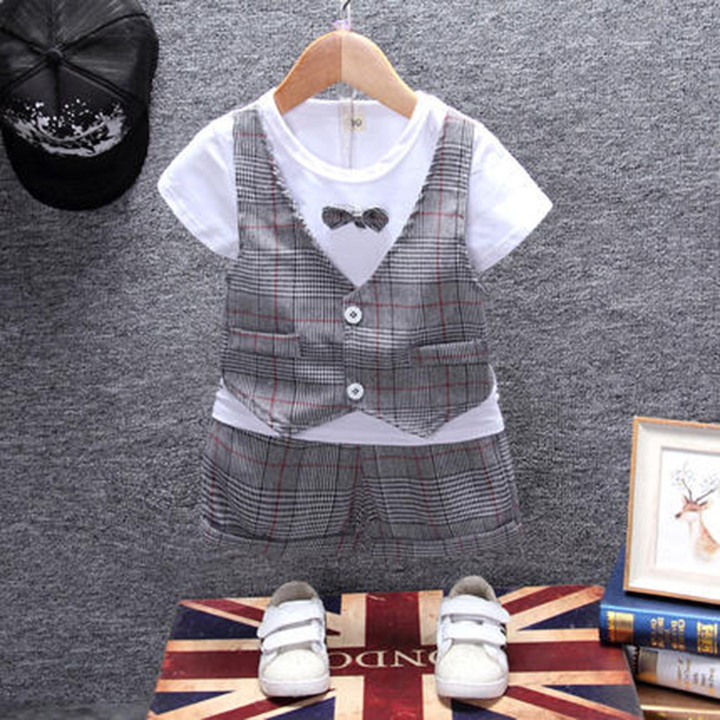 Boy's short-sleeved summer suit baby's British waistcoat two-piece baby's trendy baby's summer suit gray 80cm cotton