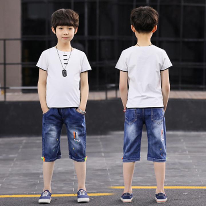 Boys' summer suit 2019 new children's summer suit big boy short sleeve two-piece suit white- 120cm cotton