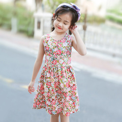 girl dress pure cotton summer child halter skirt children beach skirt version broken flower 1 90cm cotton