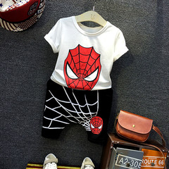 Spider-man children's summer suit for boys, 2019 new two-piece children's short sleeved shorts white- 90cm cotton