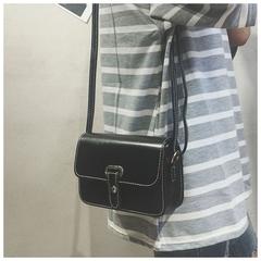 girl student lovely shoulder crossbody small leather bag han version simple all-purpose fashion bag black 20cm*13cm*7cm