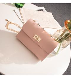 Locking small square bag girls single shoulder cross body bag with fashion mini chain small bag pink 18cm*13cm*6cm