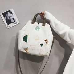 Tote bag female crossbody ins Japanese art hand bag Korean version chic canvas bag single shoulder white 33cm*30cm*14cm