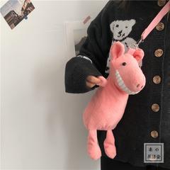 Smiling big tooth pig cross body bag ins ugly doll plush bag girl cute cartoon single-shoulder bag pink pig