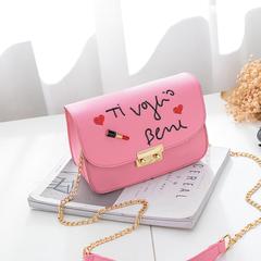 girls small bag fashion bag cross-body bag version of student creative chain bag single-shoulder bag pink 21cm*15cm*9cm