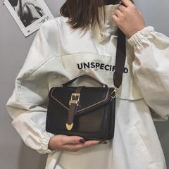 Small female bag casual single shoulder crossbody hand autumn winter girls retro small square bag black 20cm*15cm*7cm