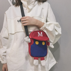 Small bag female cross-body mobile phone bag canvas student lovely girl one-shoulder creative girl red 22cm*15cm*4cm