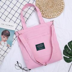 Student crossbody bag hand bag girl bag single shoulder canvas shopping bag canvas bag pink 19cm*8cm*15cm